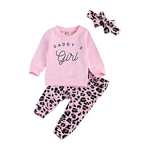 Set di maglietta da bambina, con felpa a maniche lunghe, senza cappuccio, con pantaloni di leopardo e fascia per capelli, per autunno e inverno Rosa 4 12-18 Mesi