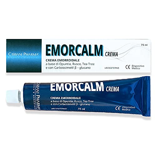Emorcalm, crema emorroidale   75 ml, a base di Opuntia, Tea Tree, Rusco   Pomata emorroidale e ragadi anali   Potente azione lenitiva e sollievo dal dolore   Cisbani Pharma