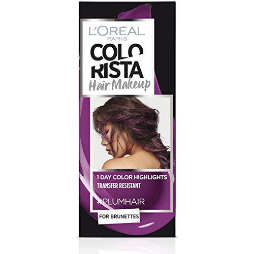 L'Oréal Paris Colorista Hair Makeup Colorazione Temporanea 1 Giorno per Ciocche e Punte, Tinta per Capelli Castani, Meches Viola Prugna, 30 ml