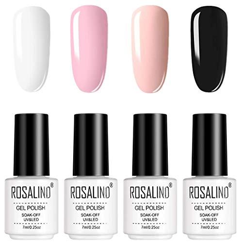 ROSALIND 7ml Nero Bianca Rosa Smalto Semipermanente 4 Colori Set Smalti Semipermanenti Per Unghie Soak off UV Gel Ricostruzione