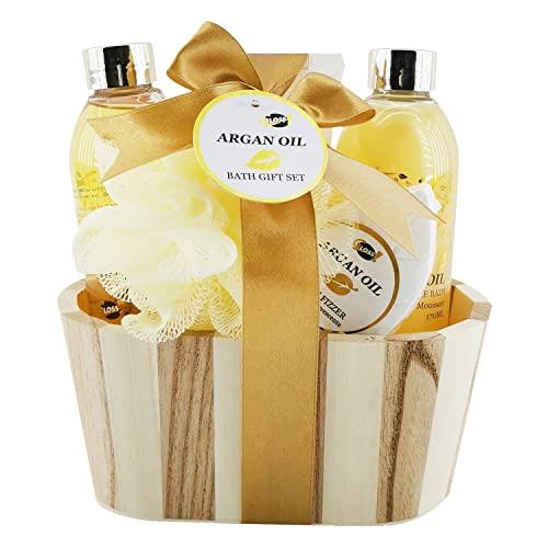 Confezione Regalo per Donna | Prodotti da Bagno al Profumo di Olio di Argan | Regalo Compleanno per le Donne | Cestino di Bellezza, Cura e Benesserey |Regali per Lei | BOIS