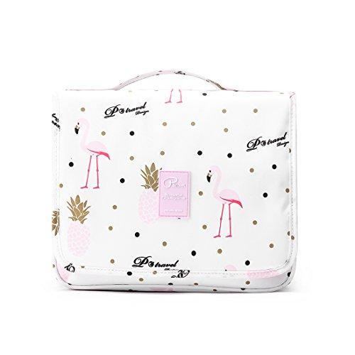 Beauty Case da Viaggio Borsa da Toilette, Lomofila Borsa da appendere impermeabile in nylon Borsa da doccia organizer in nylon per accessori da viaggio, Kit da toilette per uomo e donna (Flamingo)