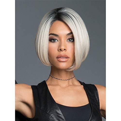 parrucca,Parrucca per capelli corti da donna europea e americana, parrucca in fibra chimica dorata platino nero sfumato parziale