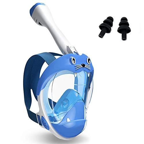 Buluri Maschera da snorkeling per bambini, maschera integrale con boccaglio asciutto, ampio campo visivo di 180°, per respirare liberamente, design carino per bambini