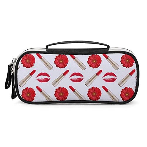 1 astuccio per penne, astuccio piccolo, portapenne e evidenziatore, astuccio per matite, astucci per regali, rossetto rosso con stampa bacio