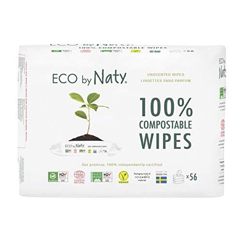 Eco by Naty Salviettine senza profumo per Neonato, Salviette Compostabili a Base Vegetale con lo 0% di plastica, 168 salviettine (3 confezioni da 56 salviettine)