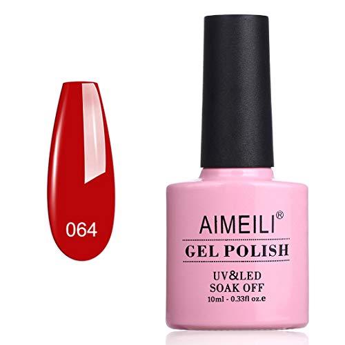 AIMEILI Smalto Semipermente per Unghie in Gel UV LED Smalti per Unghie Colori per Manicure Rosso - Pillar Box Red (064) 10ml