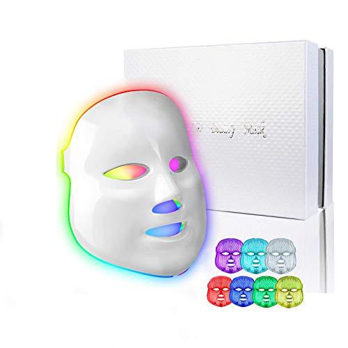 obqo Maschera Led Viso Professionale Bellezza Acne Fototerapia 7 Colori Cura Della Pelle Viso Ringiovanimento Maschera (bianco)