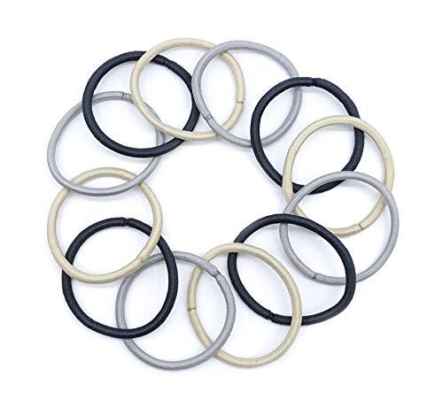 irresistible1 confezione da 12 elastici per capelli sottili senza nodi, 4 mm di spessore in cenere, giallo e argento