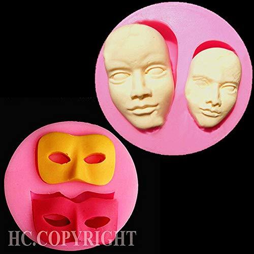 MJOEPR Maschera di Halloween Stampo in Silicone A Forma di Viso Trucco Stampo in Silicone al Cioccolato Stampo per Caramelle Jelly per Stampo per Sapone Decorazione Cupcake