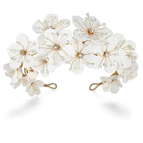 HONEY BEAR Cerchietti per gioielli da sposa Cerchietti per donna, a forma di fiore, lega ecologica con perla simulata e strass per regalo di nozze