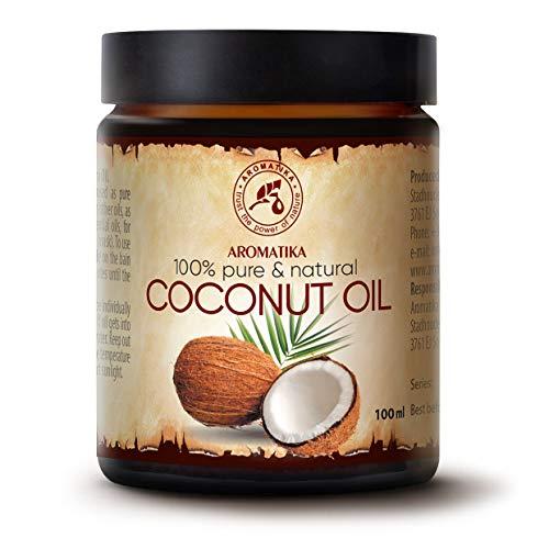 Olio di Cocco non Raffinato 100ml - Naturale e Puro al 100% - Olio Cocos Nucifera - Spremitura a Freddo - Ideale per Capelli - Pelle e Corpo - Bellezza - Massaggio - Puro Olio di Cocco