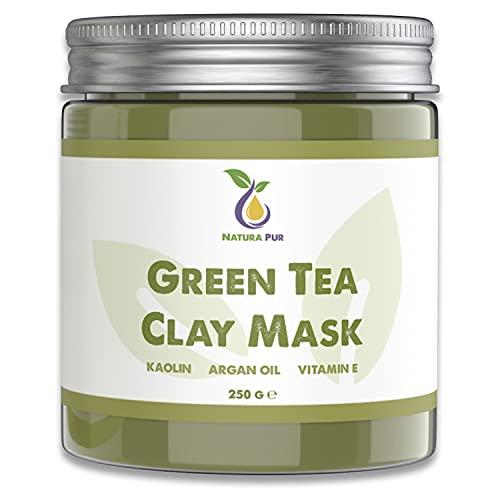 Maschera Viso Purificante al Tè Verde 250g, vegan - Maschera anti brufoli, punti neri e contro l'acne - cura anti-età per pelli secche e impure - maschera detergente per viso e corpo