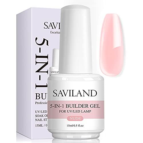 Saviland 5 in 1 Nude Builder Nail Gels - Gel rinforzante per unghie professionale da 15 ml per unghie sottili, smalto per unghie gel UV per ricostruzione e rinforzo delle unghie