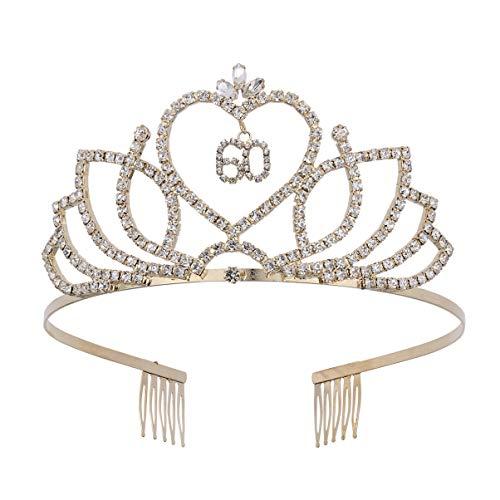 Lurrose Cerchietto Compleanno 60 Corona Tiara di Cristallo Corona Diadema Strass Copricapo Principessa 60 Compleanno Accessori dei Capelli per Donna Bomboniere Forniture Compleanno 60 °