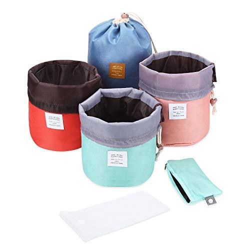 Ulikey 4 Pezzi Cosmetici Borsa da Viaggio, Multifunzionale con Coulisse Pouch Storage Borsa Trucco Cosmetici, Cylindrical Barrel Shaped Cosmetic Bag Borsa da Viaggio