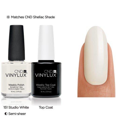 CND VINYLUX top coat & VINYLUX bianco studio con free bio scultura unghie