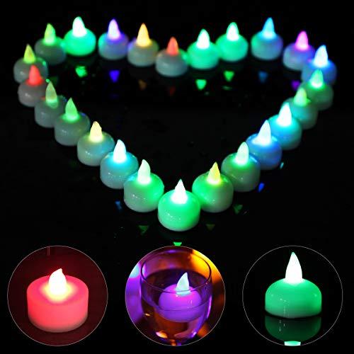 Xiangmall 24 Pezzo Candele Galleggianti a LED Candele Senza Fiamma Impermeabili per Decorazione di Casa, Feste di Compleanno, Matrimonio, Natale, Halloween, Bagno, Spa, Piscina (Colorato)
