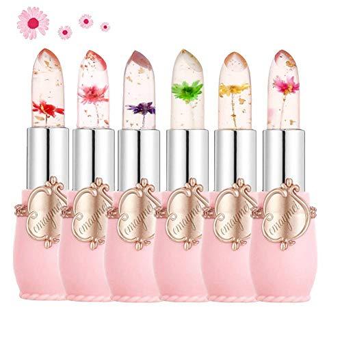 Btspring Rossetto gelatina fiore trasparente, 6 confezioni Rossetto nutriente idratante Balsamo per labbra Rossetto che cambia colore (rosa)