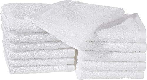 Amazon Basics - Asciugamani in cotone, confezione da 12, Bianco