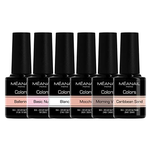 Smalto Semipermanente per Unghie • Cofanetto 6 Colori Gel UV LED • Kit per Manicure Semipermanente con 6 Smalti Nail Polish Soak Off Gel • Norme CE Europee • Meanail Paris
