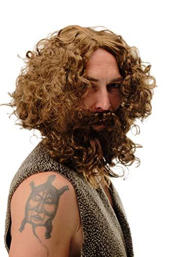 WIG ME UP -6098A+B-P6 Parrucca & Barba Carnevale Uomo preistorico Uomo di Neanderthal Spirito dei boschi Selvaggio Eremita Castano Chiaro