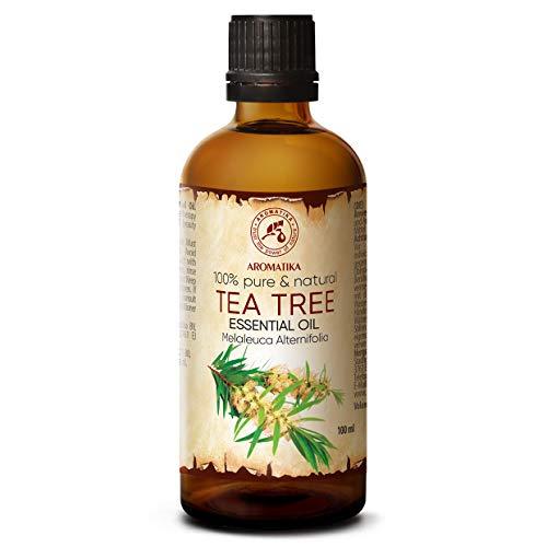 Olio Essenziale dell'Albero del Tè 100ml - Melaleuca Alternifolia Leaf Oil - Australiano - Naturale e Puro al 100% - Aromaterapia - Rilassamento - Diffusore - Lampada Aromatica - Cura del Corpo