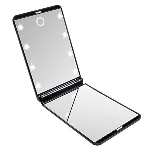 LURICO Specchi Cosmetici con luci a LED, Dimmerabile Touch Sensor Lente d'Ingrandimento Pieghevole Specchio per Il Trucco per Le Donne Portatile