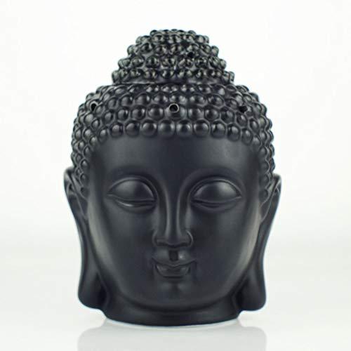 Mayco Bell - Bruciatore di oli per aromaterapia, in ceramica, con testa di Buddha, aroma, diffusore di oli essenziali, incenso indiano, tibetano, S (nero)