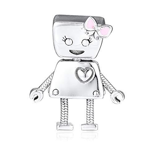 Charm Cooltaste europea 2018primaverile con Bella Bot, charm argento 925 smaltato rosa fai-da-te, adatto per braccialetti Pandora originali, bigiotteria