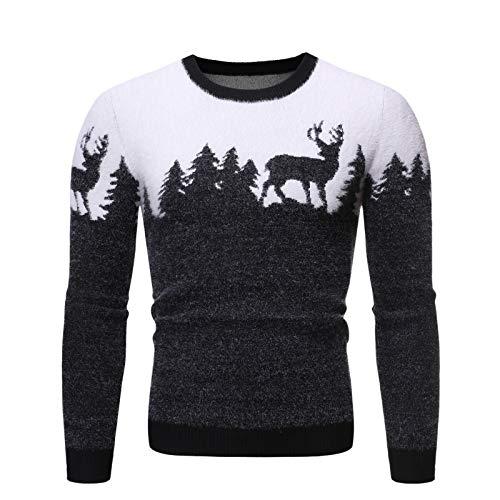 Lushi - Maglione da uomo di Natale con motivo 'Fawn' Nero M