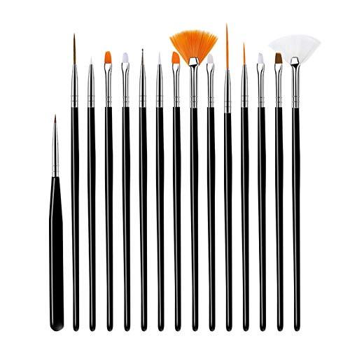 Pennello per unghie da 15 pezzi, penna per nail art professionale, da utilizzare per lo strumento di nail art fai-da-te per manicure da salone