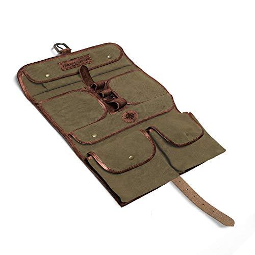 DRAKENSBERG Wash Bag - Borsa da bagno da appendere, sacchetto di toilette militare, stile safari vintagei, per donna e uomo, realizzata a mano in tela e pelle, verde oliva, DR00176