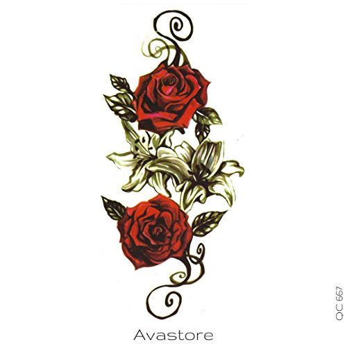 AVASTORE - Tatuaggio temporaneo da donna, rosa rossa, motivo: amore Tatuaggio temporaneo, colore: Rosa rosso