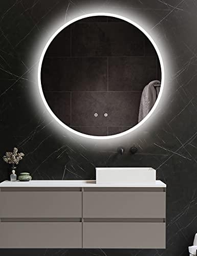 ApeJoy rotondo 80 cm specchio da bagno a LED, specchio antinebbia da bagno con illuminazione, interruttore tocco, bianco luce fredda, risparmio energetico (tondo 80 cm antiappannamento) AJ01ps