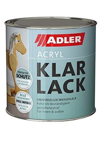 Smalto trasparente acrilica ADLER Lucido 125 ml - Smalto acrilico con effetto fondo, fondo e finitura per interni ed esterni - smalto resistente alle intemperie per legno, metallo e plastica