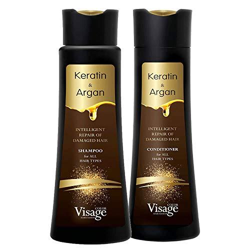 Shampoo Visage 250 ml & Balsamo 250 ml con olio di Argan e Cheratina Biomimetico | Idratante e Nutriente | Idratazione profonda | Riparazione dei capelli danneggiati per tutti i tipi di capelli