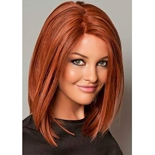 PORSMEER Parrucche Corta Arancione per le donne,Parrucche sintetiche hair naturali Ginger Rosso , uso quotidiano per cosplay per feste (1 pezzi di protezione per parrucca gratuita)