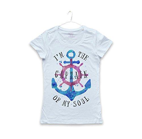 Maglietta Ancora Maglia Donna Marina Tatuaggi timone Watercolors Anchor Tattoo Soul Captain T-Shirt Girl (Frost Blue, S)