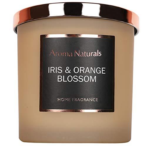 Aroma Naturals, Candela profumata Luxury, 204 g, 35 Ore di Profumo, con Cera di soia, Idea Regalo per profumare la casa, vasetto Medio, Iris e Fiori d'arancio