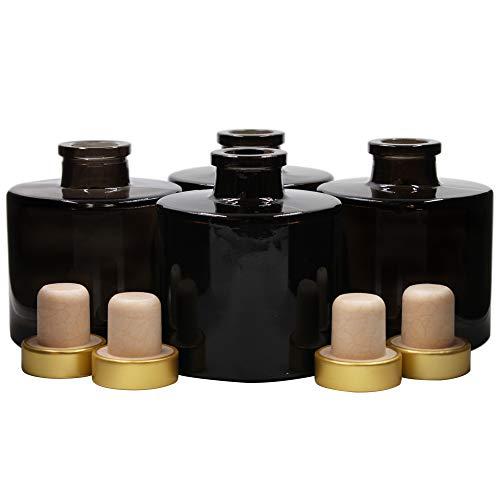 Frandy House - Set di 4 diffusori rotondi in vetro nero con tappo in sughero dorato, altezza 7,5 cm, capacità 100 ml Accessori per profumi, set di diffusori di ricambio.