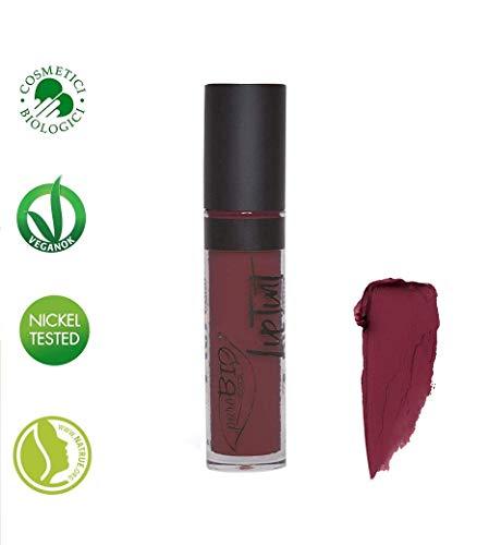 PUROBIO COSMETICS - Lip Tint n.07 - Tonalità Vinaccio - Rossetto Liquido Altamente Pigmentato - Finish Opaco -Biologico - Vegano - Nickel Tested - 4 ml