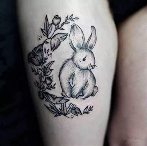 LNNHJB Autoadesivo del Tatuaggio Impermeabile con Braccio Fiore Cicatrice Sfumature di Coniglio Bianco e Nero