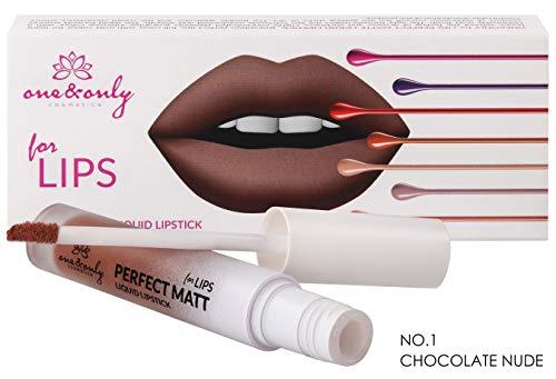 One&Only MATTE LIQUID LIPSTICK rossetto opaco, rossetto mate, rossetto liquido, colore pieno, trucco, prodotto per il trucco, prodotto femminile, ampia gamma di colori, (No. 1 Chocolate Nude)