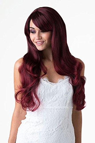 Parrucca di Annabelle extra lunga rossa con luci nere basse, molto grandi riccioli sciolti e una frangia laterale spazzante: Anji 250g