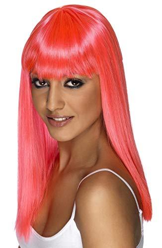 SMIFFYS Smiffy's Parrucca Glamour, Fosforescente, Lunga, Liscia con frangetta Capo d'Abbigliamento Donna, Rosa Fluo, Taglia unica, 42161