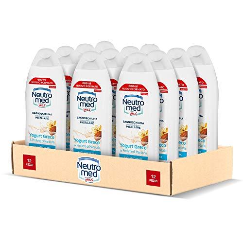 Neutromed Bagnoschiuma Corpo Idratante, Docciaschiuma Anti-Secchezza Yogurt Greco & Profumo di Mandorla, 12 pezzi x 600 ml