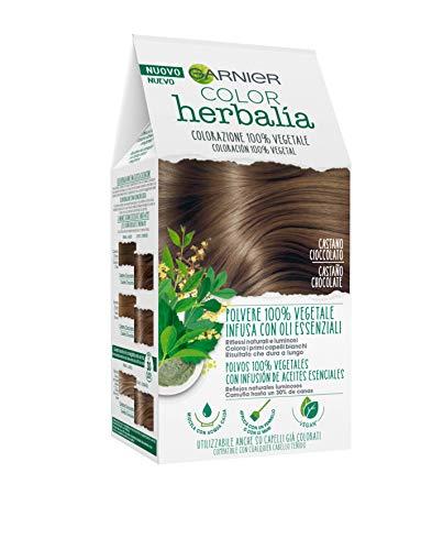Garnier Herbalia Color, Colorazione Permanente per Capelli, 100% Vegetale con Henné, Indigo e Cassia per Riflessi Naturali e Luminosi, Capelli Rivitalizzati e Densificati, Castano Cioccolato