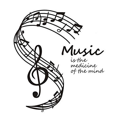 Adesivi murali Citazioni, Arte del tatuaggio da parete, Dctop La musica è la medicina della mente Note musicali Pentagramma Nota musicale Hot 44x50cm