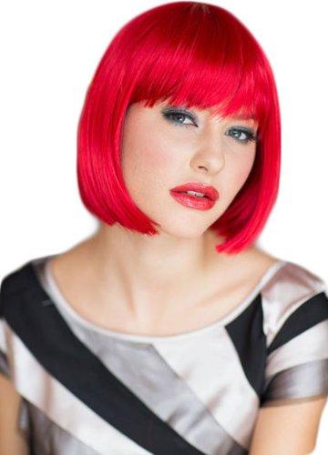 Annabelle - Parrucca Bob con taglio dritto, colore rosso brillante, 200 g